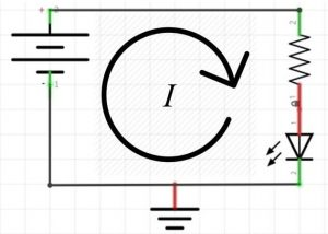 Current flow in a series circuit